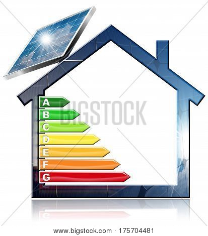 Energy Efficiency - 3D illustration of a symbol in the shape of house with energy efficiency rating and a solar panel. Isolated on white background