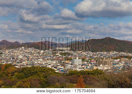 Himeji city residence downtown with mountain background Kansai Japan during autumn season