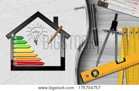 House with energy efficiency rating (3D illustration) on a desk with folding rulers pencils and a drawing compass (photo). Project of ecological house