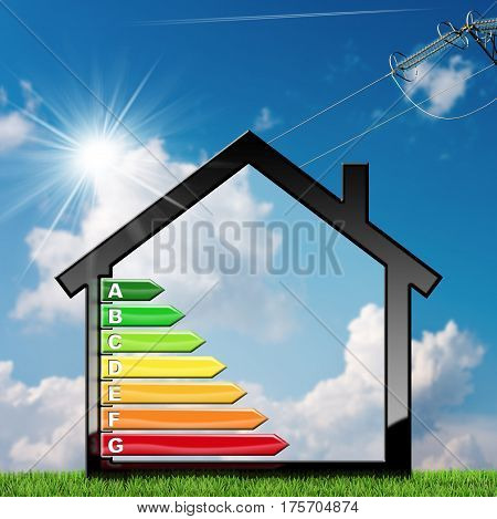 Energy Efficiency - 3D illustration of a symbol in the shape of house with energy efficiency rating. On a blue sky with clouds and sun rays