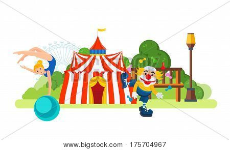 Circus chapiteau building located in park attractions, the main entrance to the room, at the entrance animator clown and circus acrobat on the ball. Vector illustration isolated on white background.