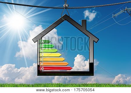 Energy Efficiency - House Model with energy efficiency rating (3D illustration) hanging on a steel cable on a blue sky with clouds and sun rays (photo)