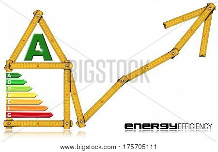 Energy Efficiency A - Yellow wooden folding ruler in the shape of a house with energy efficiency rating. Isolated on white background