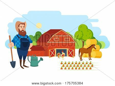 A farmer on his agricultural plot, is engaged in the cultivation of animals and plants and ennoblement of organic products. Agriculture and Farming. Rural landscape. Cartoon vector illustration