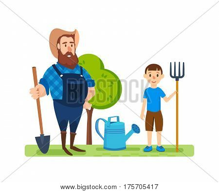 A farmer and young boy, on his agricultural plot, is engaged in cultivation of animals and plants and ennoblement of organic products. Agriculture and Farming. Cartoon vector illustration isolated