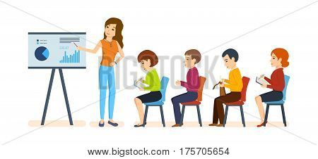 Officer conducts thematic conferences and seminars on financial matters for an audience of colleagues and partners. Vector illustration. Can be used in banner, mobile app.