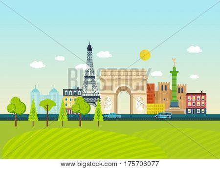 Travel to France concept. Familiarity with the traditions, culture, architecture, landmarks, street, nature and atmosphere of the city.