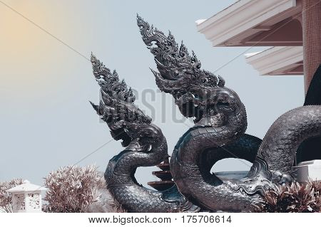 UDON THANI,THAILAND- JAN 25,2014 : Image of Thai art of Serpent on the Wat Pa Phu Kon is located in the village of Ban Na Kham  Tambon Ban Kong in  Amphoe Na Yung  the northwestern part of the province of Udon Thani. The temple was built between 2010 and