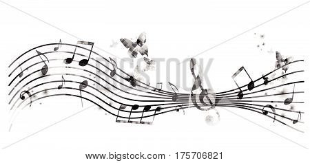Stave with music notes and butterflies isolated vector illustration. Music background for poster, brochure, banner, flyer, concert, music festival