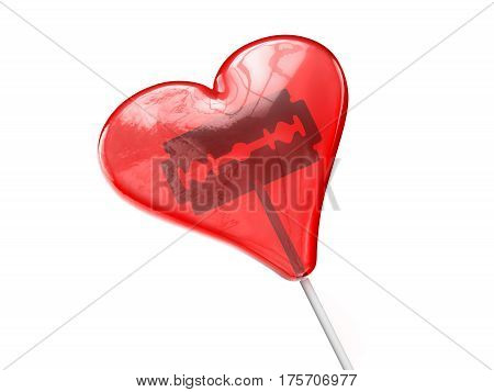 Red heart shaped lollipop with shaving blade inside. Concept 3D illustration.