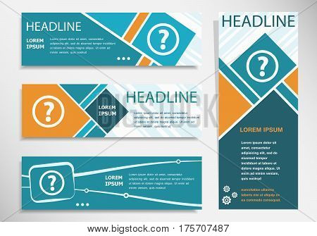 Question Mark Icon On Horizontal And Vertical Banner. Modern Banner Design Template.