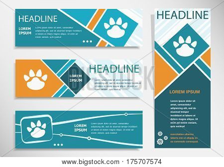 Paw Icon On Horizontal And Vertical Banner. Modern Banner Design Template.