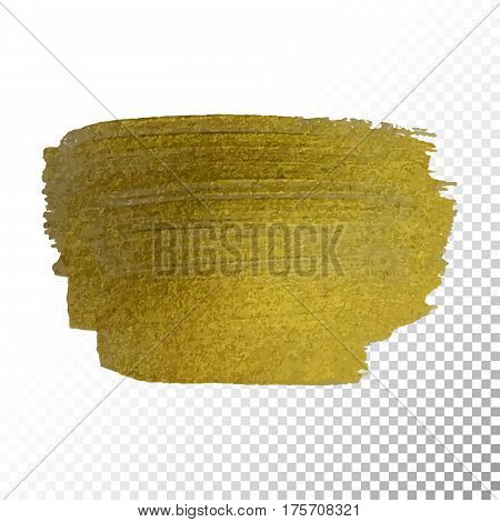 Vector Gold Paint Smear Stroke Stain. Abstract Gold Glittering Textured Art Illustration.