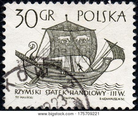 UKRAINE - CIRCA 2017: A stamp printed in Poland shows Roman merchant ship circa 1963