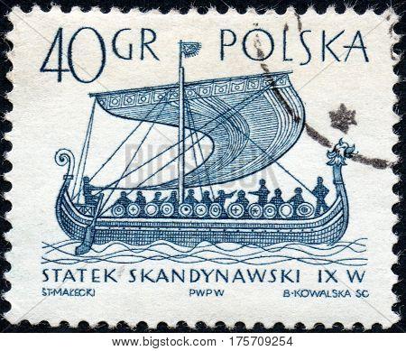 UKRAINE - CIRCA 2017: A stamp printed in Poland shows ancient Scandinavian ship circa 1963