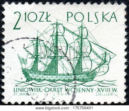 UKRAINE - CIRCA 2017: A stamp printed in Poland shows Line ship XVIII century series Sailing Ships circa 1963