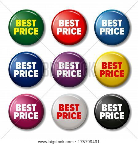 Set Of Colored Round Buttons With Word 'best Price'