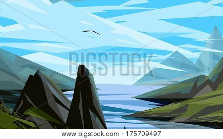 Nature landscape with mountain, moon, stars, forest , field. Violet, green, orange, blue colours. Minimalistic landscape nature Summer evening landscape Nature Summer Vector EPS 10