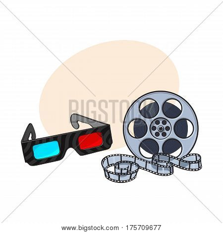 Blue and red stereoscopic, 3d glasses and cinema film reel, movie ticket, sketch vector illustration with place for text. Cinema objects - 3d stereoscopic glasses and motion picture film reel