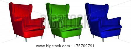 Additive RGB color model concept picture. Three chairs of different colors - red, green and blue