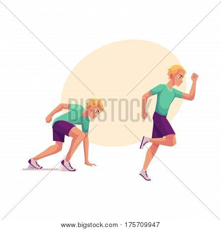 Young and handsome male runner, sprinter, jogger, ready to start and running, cartoon vector illustration with place for text. Man running, sprinter, track and field, competition