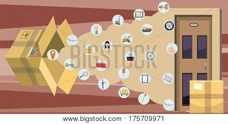 Logistic horizontal banner pack concept. Cartoon illustration of logistic vector horizontal banner pack for web