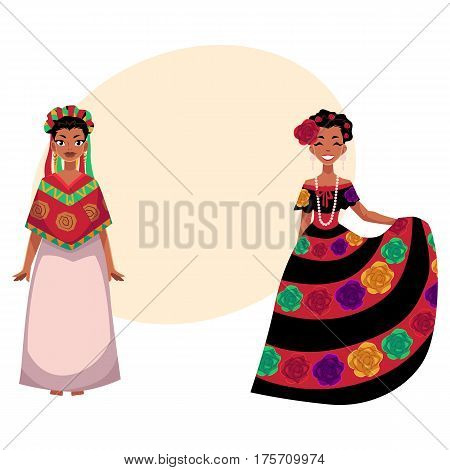 two Mexican woman in traditional national dress decorated with embroidered flowers, cartoon vector illustration with place for text. two Full length portrait of Mexican woman in dress