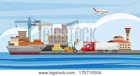 Logistic horizontal banner concept. Cartoon illustration of logistic vector horizontal banner for web