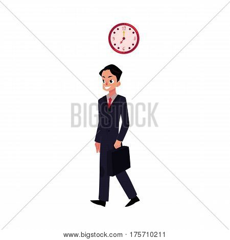 Young ambitious, promising, smiling businessman in business suit holding briefcase, cartoon vector illustration isolated on white background. Businessman, employee going to work with briefcase