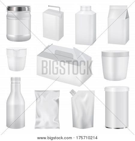 Food pack mockup set. Realistic illustration of 11 food pack mockups for web