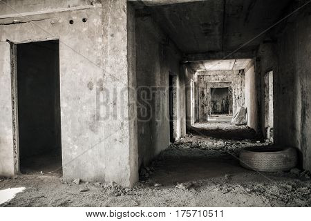 Destroyed industrial building, unfinished nuclear power plant