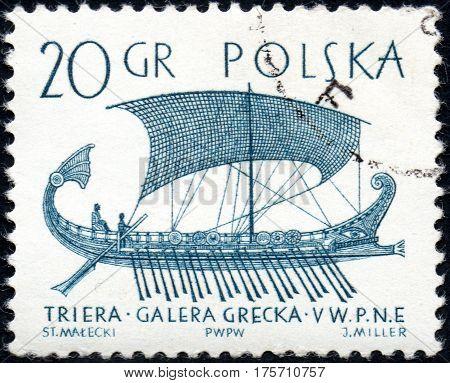 UKRAINE - CIRCA 2017: A stamp printed in Poland shows a Greek trireme the series Sailboats circa 1965