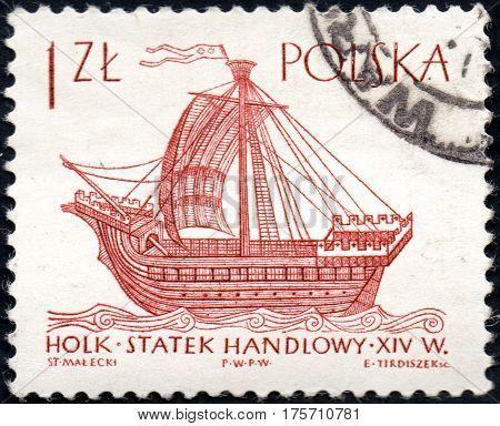 UKRAINE - CIRCA 2017: A stamp printed in Poland shows ship XIV century Holk series Sailing Ships circa 1964