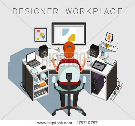 Designer workplace. Gaphic designer at work. Vector illustration