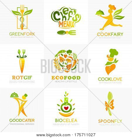 Natural food logo templates. Conceptual icon for natural vegan bio organic farm healthy vegan product store or shop. Chef ingredients spoon fork catering symbols.