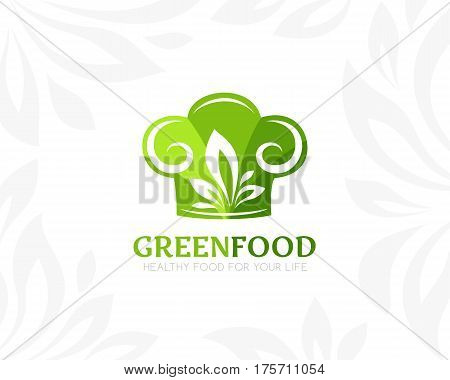 Chef hat with leaves logo template. Conceptual icon for natural vegan bio organic farm healthy vegan product store or shop.