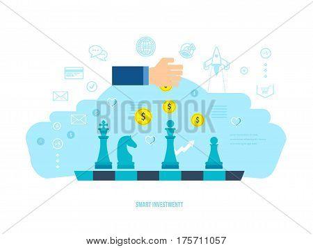 Flat line design concept for smart investment, finance, banking, market data analytics, strategic management, financial planning. Vector illustration isolated on white background.