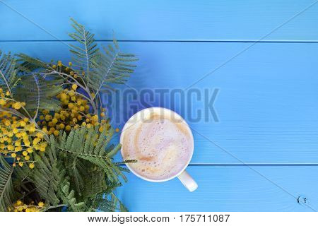 frothy cappuccino with a bouquet of blooming mimosa top view / coffee break with the scent of spring