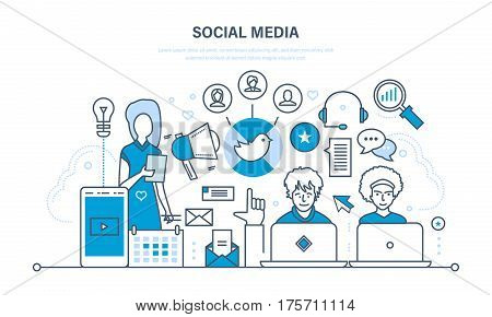 Social media concept. Communications, maintenance and support, information exchange, reviews, ratings, technology. Illustration thin line design of vector doodles, infographics elements.