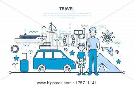 Father and son are traveling on vacation, relaxing by the sea, ride on the boat, diving, get acquainted with the culture. Illustration thin line design of vector doodles, infographics elements.