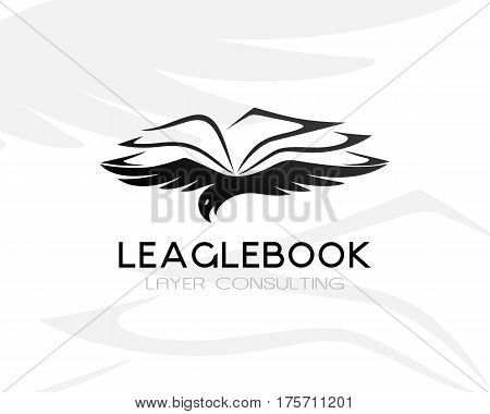 Eagle with lawbook. Law firm logo template. Concept for legal firms notary offices or justice companies