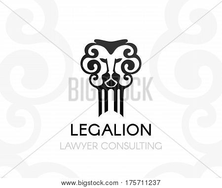 Lion judge with pillar. Law firm logo template. Concept for legal firms notary offices or justice companies