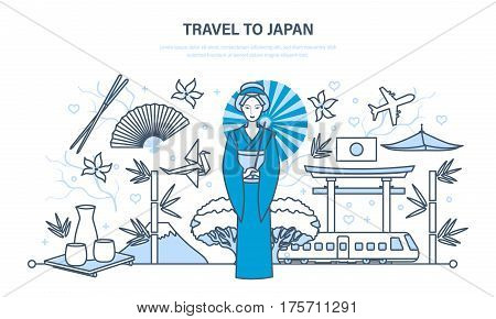 Japan landmarks concept. Attractions states, traditions, culture, food and beverages, entertainment, buildings and facilities. Illustration thin line design of vector doodles, infographics elements.