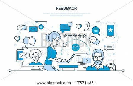 Modern technology, communications, technical support and feedback, resolving issues, analysis and evaluation. Illustration thin line design of vector doodles, infographics elements.