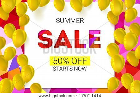 Sale banner on low poly background with inflatable balloons and typography for luxury sales offers. Modern, colorful design with yellow inflatable balloons. Vector illustration, eps 10