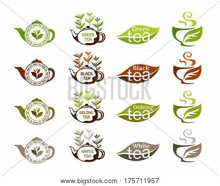 Tea types: white black oolong green tags for package design. Labels collection.