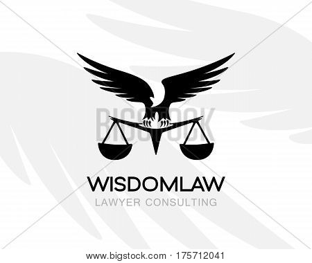 Eagle with balance. Law firm logo template. Concept for legal firms notary offices or justice companies