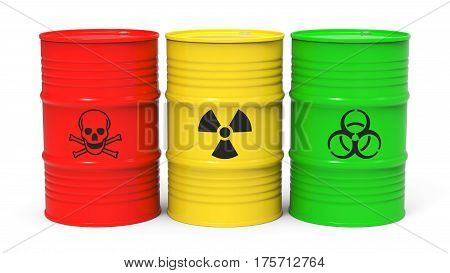 Different barrels with toxic waste isolated on white background 3D rendering