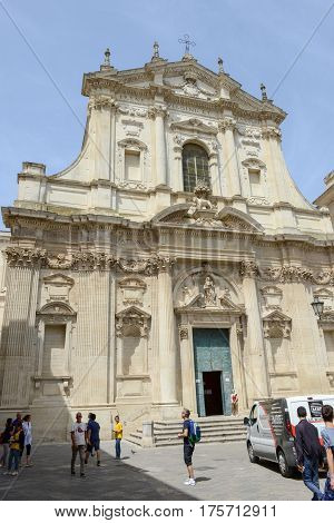 Lecce Italy - 23 June 2016: Tourists visiting the Saint Irene church on Lecce in Puglia Italy