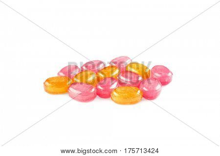 Cough drops on white background